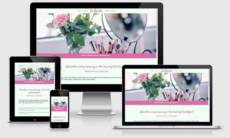 A beautiful responsive website for beauticians shown on different devices